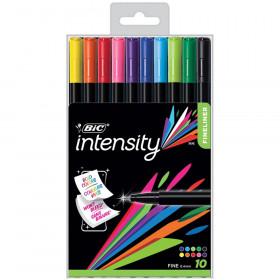 Intensity Fineliner Marker Pen, Fine Point (0.4mm), Assorted Colors, 10 Count