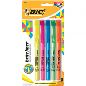 Brite Liner Highlighters, Chisel Tip, Assorted Colors,Pack of 5