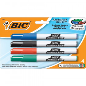 Great Erase BOLD Dry Erase Marker, Fine Point, Assorted Colors, Pack of 4