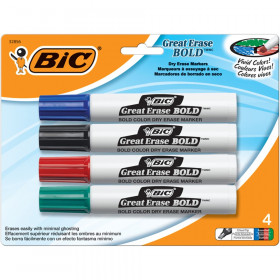 Bic Great Erase Dry Erase Chisel Point Markers 4 Pack