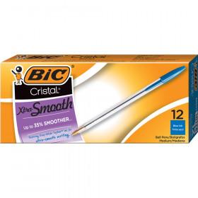 Cristal Classic Stic Pen, Med Point, Blue, 12/pkg