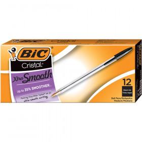 Cristal Classic Stic Pen, Med Point, Black, 12/pkg