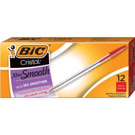 Cristal Classic Stic Pen, Med Point, Red, 12/pkg