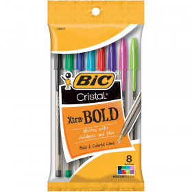 Cristal Xtra Bold Ball Pen, Assorted Colors, Pack of 8