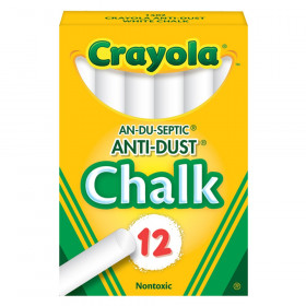 Anti-Dust Chalkboard Chalk, White, 12 Count