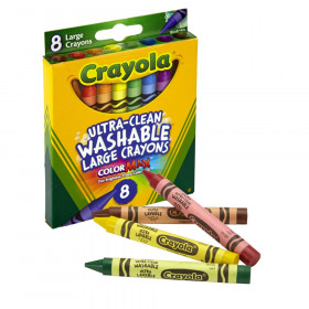 Ultra-Clean Washable Crayons, Large Size, 8 Colors