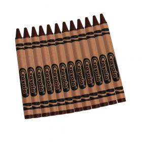 Bulk Crayons, Brown, Regular Size, 12 Count