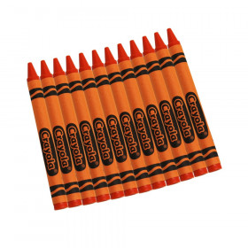 Bulk Crayons, Orange, Regular Size, 12 Count