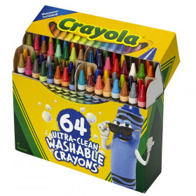 Ultra-Clean Washable Crayons - Regular Size, Pack of 64