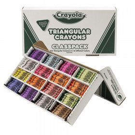 Triangular Crayon Classpack, 16 Colors, 256 Count