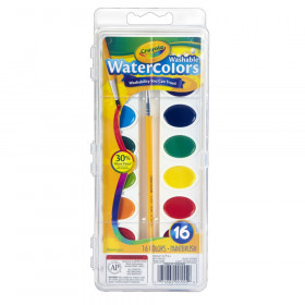Crayola Washable Watercolors, 16 semi-moist oval pans & brush