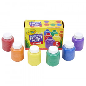 Washable Project Paint, Classic Colors, 2 Ounce Bottles, 6 Count