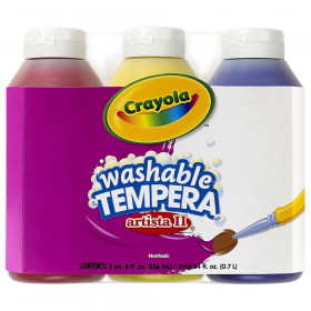 Artista II Washable Tempera Paint, Primary Colors, 8 Ounce Bottles, 3 Count