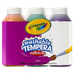 Artista II Washable Tempera Paint, Secondary Colors, 8 Ounce Bottles, 3 Count