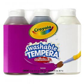 Crayola Tempera Neutral Colors Paint, Three 8 oz bottles