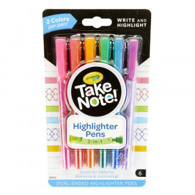 Take Note! Dual-Ended Highlighter Pens, Pack of 6