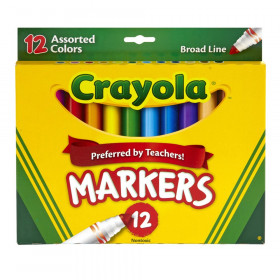 Broad Line Markers, Assorted Colors, 12 Count