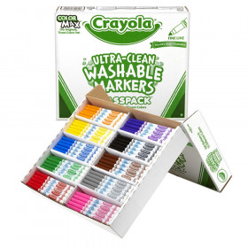 Ultra-Clean Washable Markers Classpack, Fine Line, 10 Colors, Pack of 200