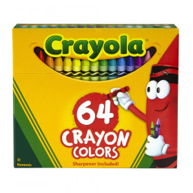 Crayons, Regular Size, 64 Count with Sharpener