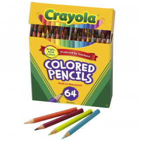 Short Colored Pencils, 64 Count with Sharpener