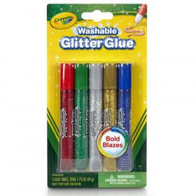 Crayola Washable Glitter Glue, Bold, 5/pkg