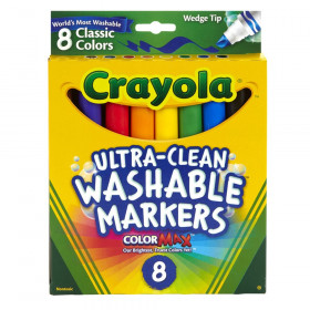 Ultra-Clean Washable Markers, Wedge Tip, 8 Count