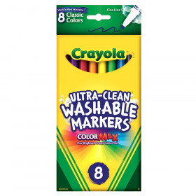 Crayola Washable Formula Markers, Fine tip, 8 Classic Colors