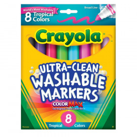 Tropical Broad Line Washable Markers, Ultra Clean, 8 Count