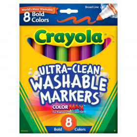 Ultra-Clean Washable Markers, Broad Line, Bold Colors, 8 Count