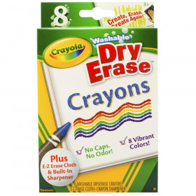 Crayola Dry Erase Washable Crayons, Vibrant Colors, 8/box