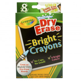 Dry Erase Washable Crayons, Bright Colors, 8 Count