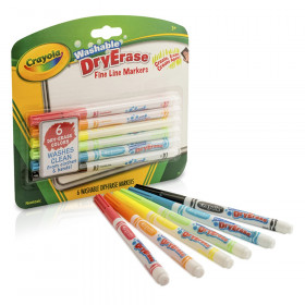 Crayola Washable Dry Erase Markers, 6 colors