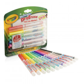 Dry Erase Fine Line Washable Markers, 12 Count
