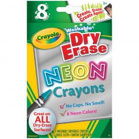 Crayola Wash Dry Erase Crayons 8Pk Neon Colors