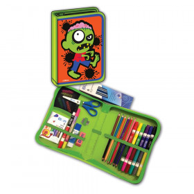 Zombie Designed All-In-One School Supplies, durable carrying case 41 pcs. for Grades K-4