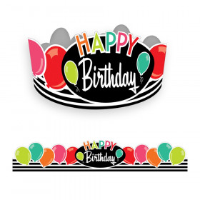 Black, White & Stylish Brights Birthday Crowns, Pack of 30