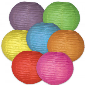 Schoolgirl Style Colorful Lanterns Dimensional Accent, Set of 7