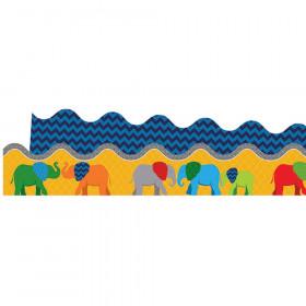 Parade of Elephants Scalloped Borders