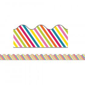 School Pop Rainbow Stripe Scalloped Borders