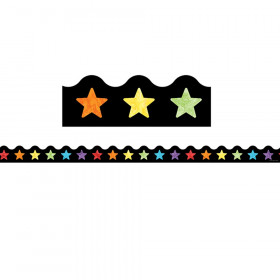 Watercolor Stars Scalloped Border, 39 Feet