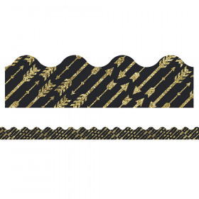 Sparkle + Shine Gold Glitter Arrows Scalloped Border, 39'