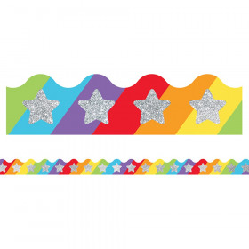 Sparkle + Shine Glitter Stars on Rainbow Scalloped Border, 39'