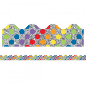 Sparkle + Shine Rainbow Dots on Glitter Scalloped Border, 39'