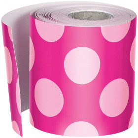 Hot Pink W Polka Dots Str Borders School Girl Style