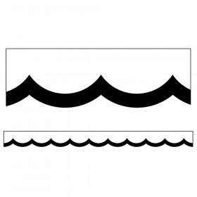 Simply Stylish Black & White Wavy Line Scalloped Border, 39'
