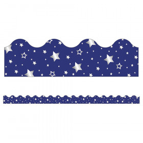 Sparkle + Shine Navy with Foil Stars Scalloped Border, 39'