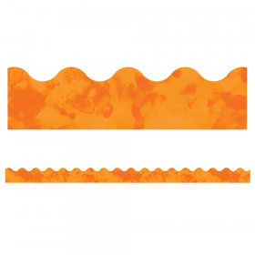 Celebrate Learning Watercolor Orange Scalloped Border, 39'
