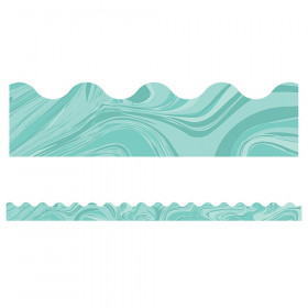 Teal Marble Scalloped Borders