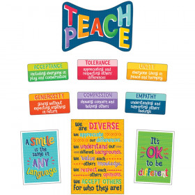 One World Teach Peace Bulletin Board Set, Grade 2-6