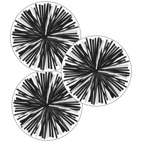 Simply Stylish Black & White Poms Cut-Outs, Pack of 36
